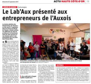 l'article du Bien Public relayant la visite des Entrepreneurs de l'Auxois au Fab'lab de Semur en auxois